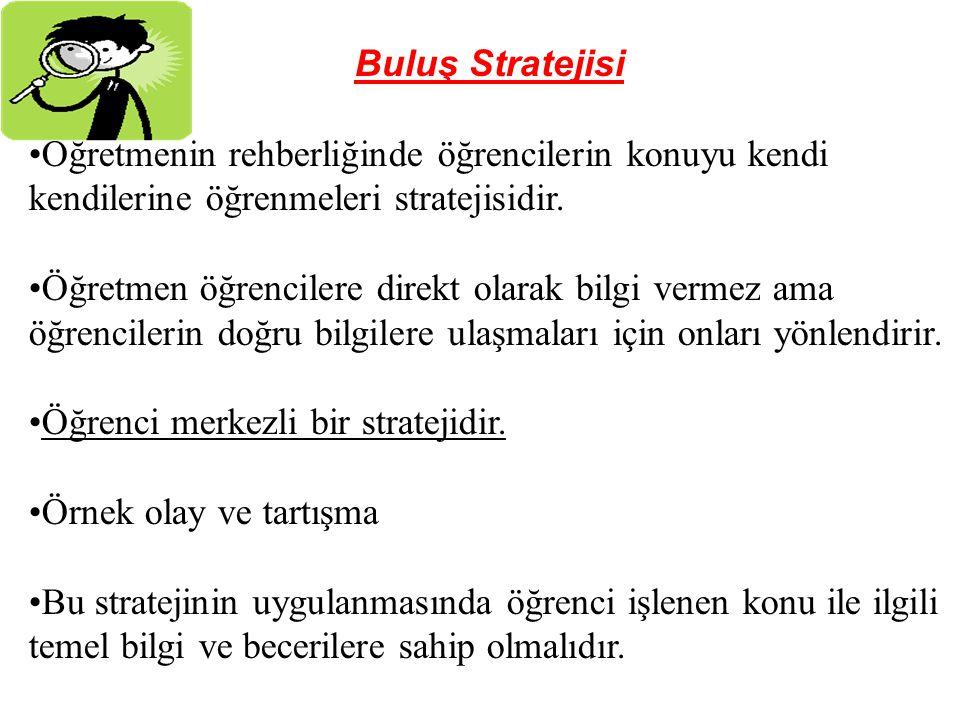 Buluş Stratejisi Öğretmenin rehberliğinde öğrencilerin konuyu kendi kendilerine öğrenmeleri stratejisidir.