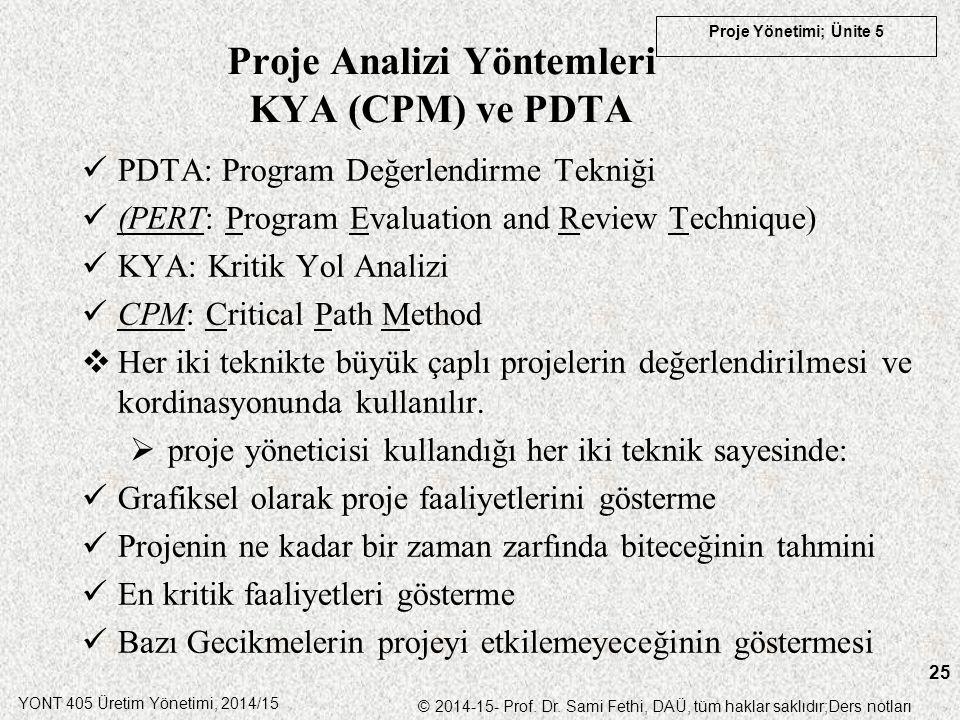 Proje Analizi Yöntemleri KYA (CPM) ve PDTA