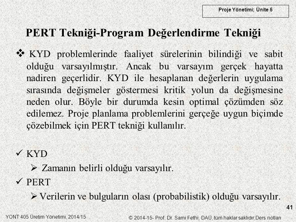 PERT Tekniği-Program Değerlendirme Tekniği