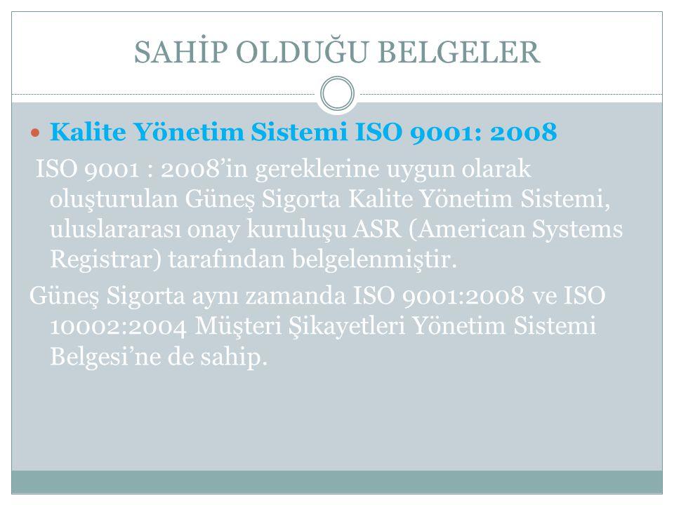 SAHİP OLDUĞU BELGELER Kalite Yönetim Sistemi ISO 9001: 2008