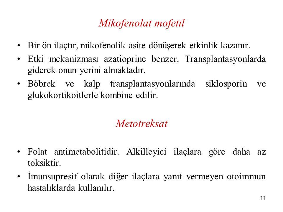 Mikofenolat mofetil Metotreksat