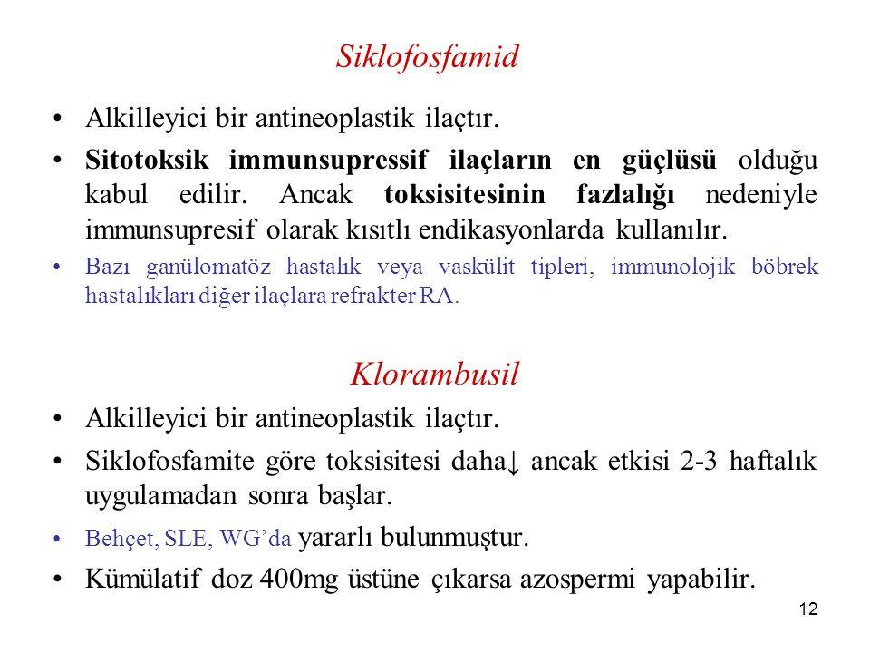 Siklofosfamid Klorambusil Alkilleyici bir antineoplastik ilaçtır.