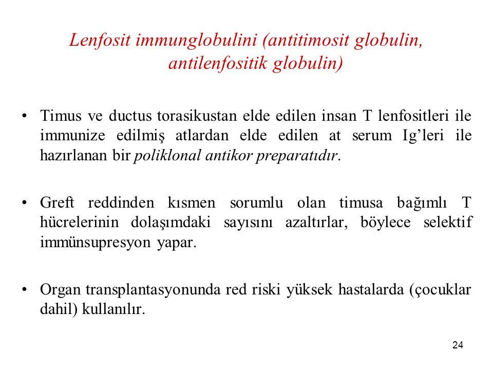 Lenfosit immunglobulini (antitimosit globulin, antilenfositik globulin)