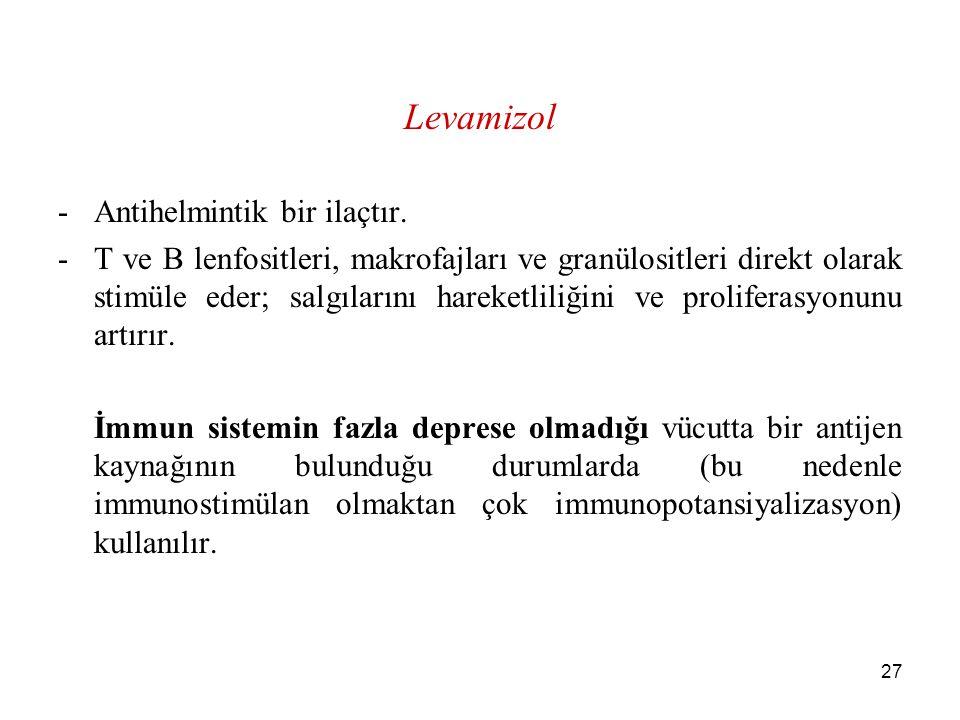 Levamizol Antihelmintik bir ilaçtır.