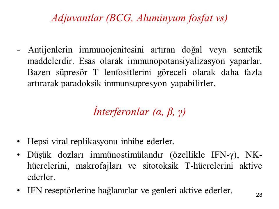 Adjuvantlar (BCG, Aluminyum fosfat vs)