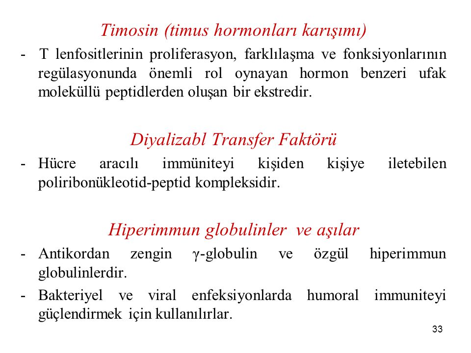 Timosin (timus hormonları karışımı)