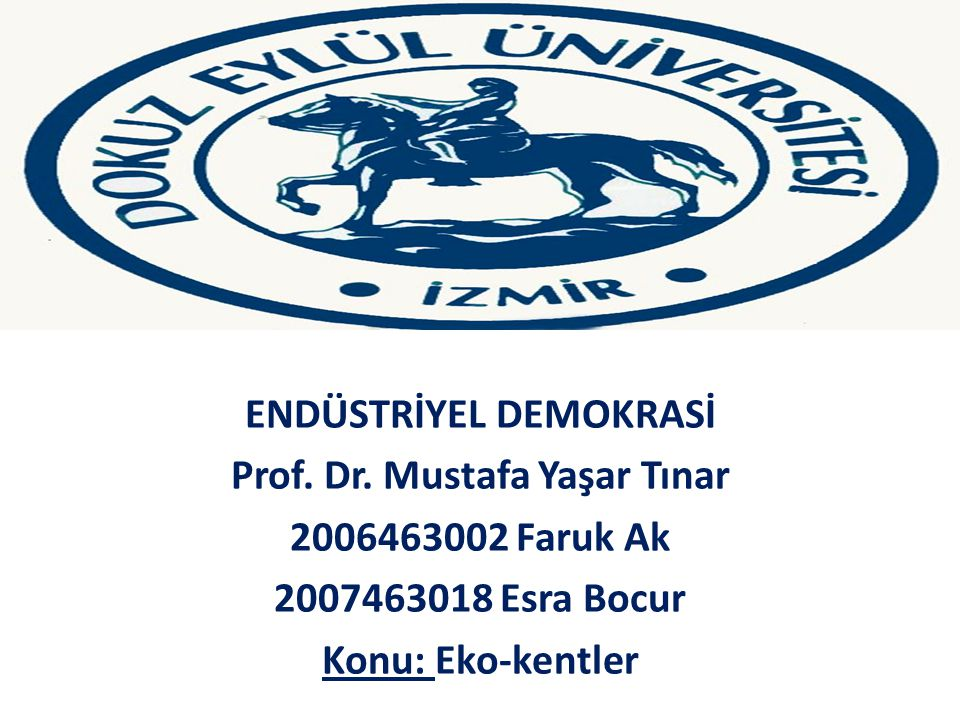 ENDÜSTRİYEL DEMOKRASİ Prof. Dr. Mustafa Yaşar Tınar
