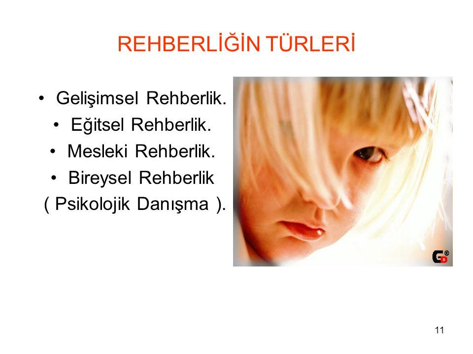 REHBERLİĞİN TÜRLERİ Gelişimsel Rehberlik. Eğitsel Rehberlik.