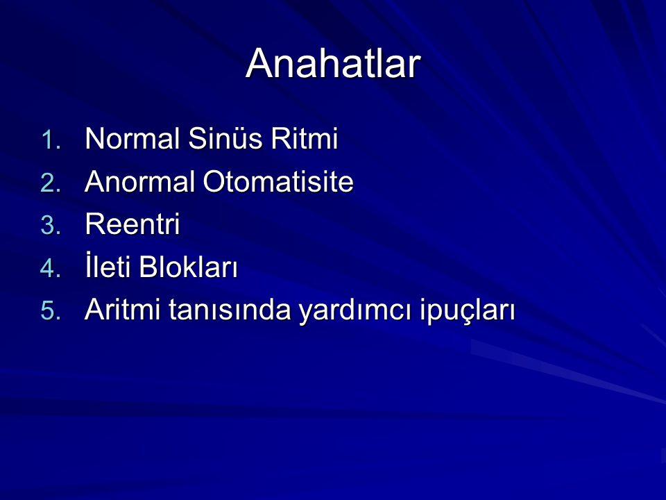 Anahatlar Normal Sinüs Ritmi Anormal Otomatisite Reentri