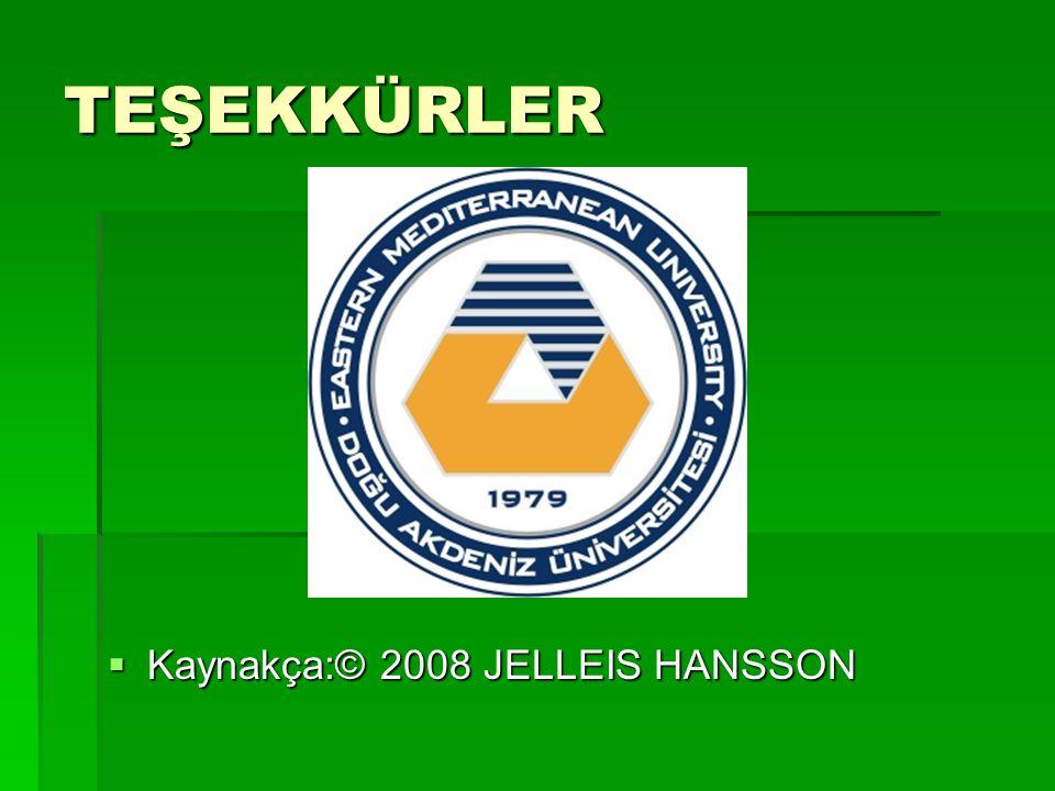 TEŞEKKÜRLER Kaynakça:© 2008 JELLEIS HANSSON