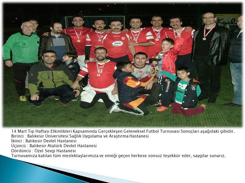 14 Mart Tıp Haftası Etkinlikleri Kapsamında Gerçekleşen Geleneksel Futbol Turnuvası Sonuçları aşağıdaki gibidir.