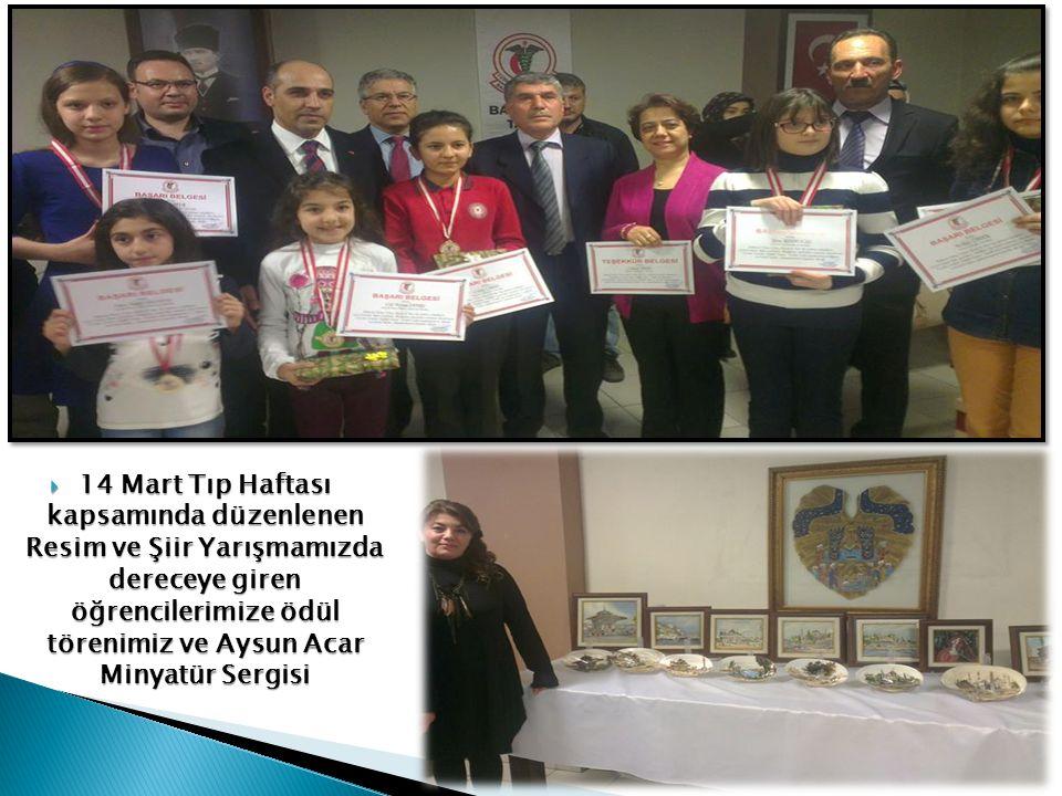 14 Mart Tıp Haftası kapsamında düzenlenen Resim ve Şiir Yarışmamızda dereceye giren öğrencilerimize ödül törenimiz ve Aysun Acar Minyatür Sergisi
