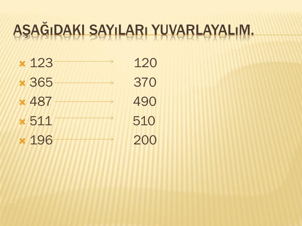 Aşağıdaki sayıları yuvarlayalım.