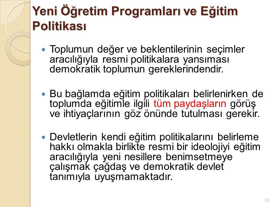 Yeni Öğretim Programları ve Eğitim Politikası