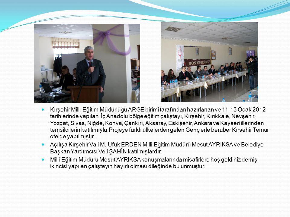 Kırşehir Milli Eğitim Müdürlüğü ARGE birimi tarafından hazırlanan ve 11-13 Ocak 2012 tarihlerinde yapılan İç Anadolu bölge eğitim çalıştayı, Kırşehir, Kırıkkale, Nevşehir, Yozgat, Sivas, Niğde, Konya, Çankırı, Aksaray, Eskişehir, Ankara ve Kayseri illerinden temsilcilerin katılımıyla,Projeye farklı ülkelerden gelen Gençlerle beraber Kırşehir Temur otelde yapılmıştır.