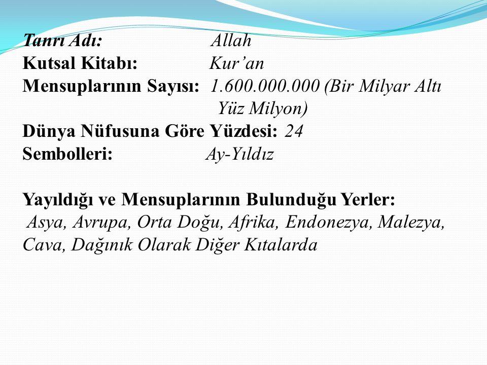 Tanrı Adı: Allah Kutsal Kitabı: Kur'an. Mensuplarının Sayısı: 1.600.000.000 (Bir Milyar Altı Yüz Milyon)