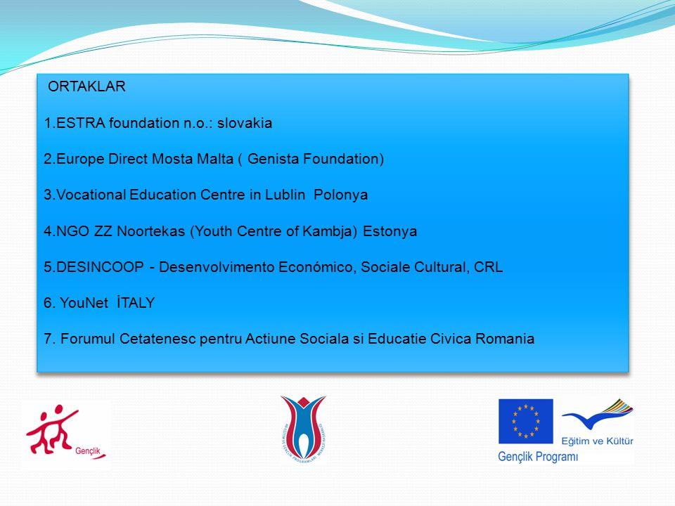 ORTAKLAR 1.ESTRA foundation n.o.: slovakia. 2.Europe Direct Mosta Malta ( Genista Foundation) 3.Vocational Education Centre in Lublin Polonya.
