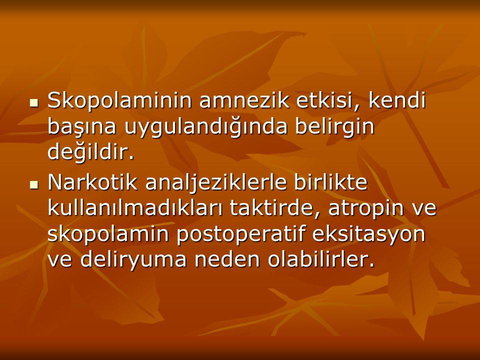 Skopolaminin amnezik etkisi, kendi başına uygulandığında belirgin değildir.