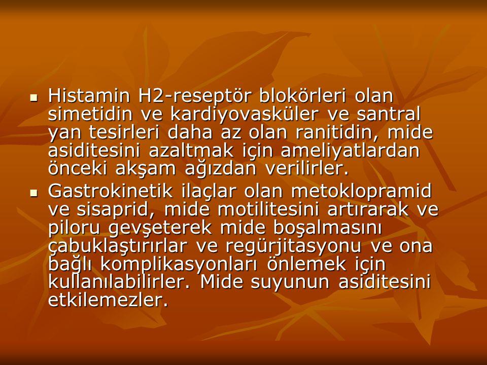 Histamin H2-reseptör blokörleri olan simetidin ve kardiyovasküler ve santral yan tesirleri daha az olan ranitidin, mide asiditesini azaltmak için ameliyatlardan önceki akşam ağızdan verilirler.