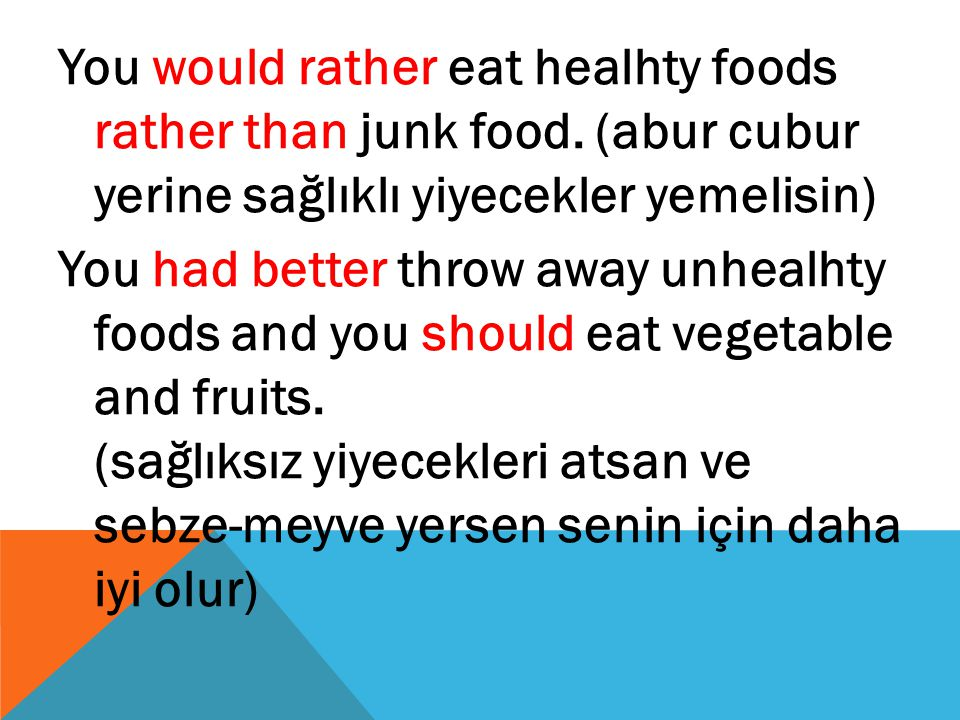 You would rather eat healhty foods rather than junk food