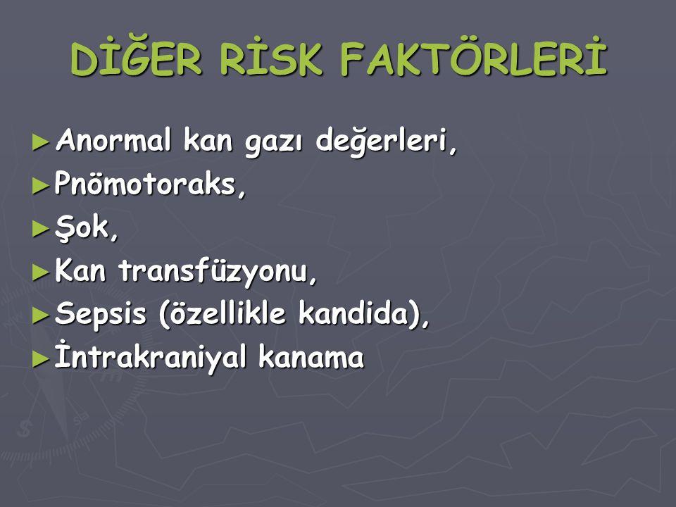 DİĞER RİSK FAKTÖRLERİ Anormal kan gazı değerleri, Pnömotoraks, Şok,