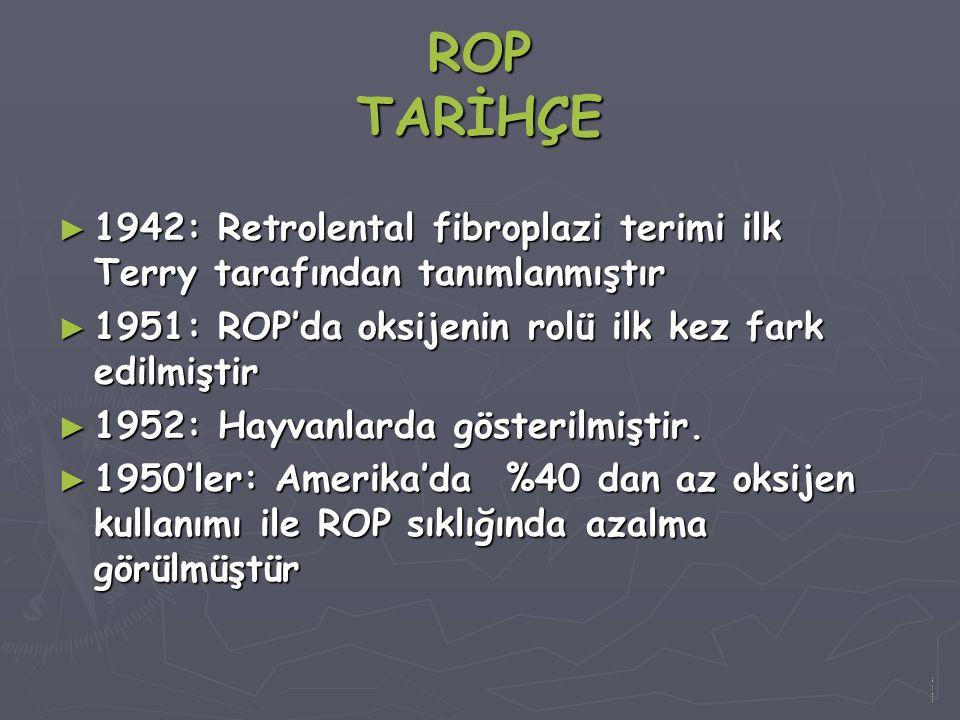 ROP TARİHÇE 1942: Retrolental fibroplazi terimi ilk Terry tarafından tanımlanmıştır. 1951: ROP'da oksijenin rolü ilk kez fark edilmiştir.