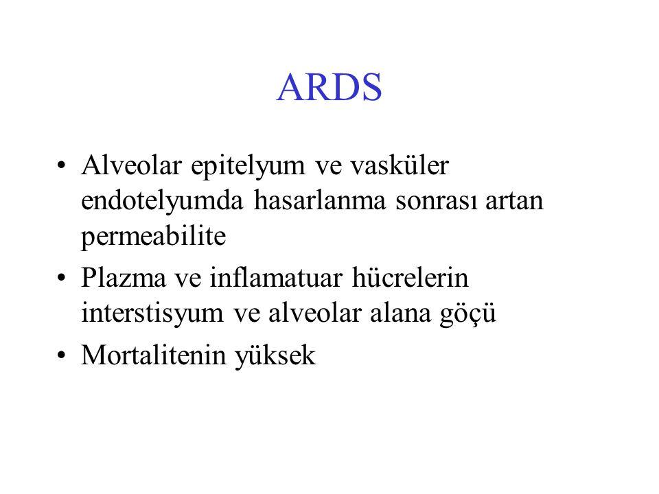 ARDS Alveolar epitelyum ve vasküler endotelyumda hasarlanma sonrası artan permeabilite.