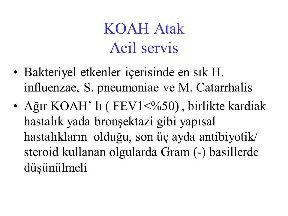 KOAH Atak Acil servis Bakteriyel etkenler içerisinde en sık H. influenzae, S. pneumoniae ve M. Catarrhalis.