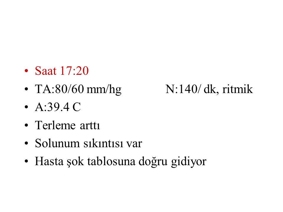 Saat 17:20 TA:80/60 mm/hg N:140/ dk, ritmik. A:39.4 C.