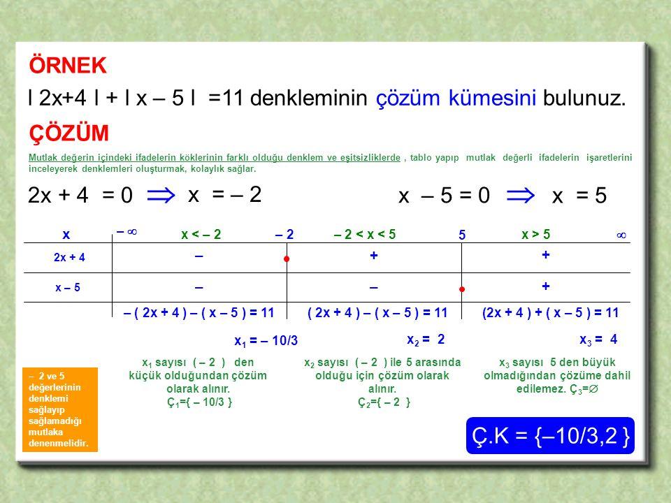   ÖRNEK l 2x+4 l + l x – 5 l =11 denkleminin çözüm kümesini bulunuz.