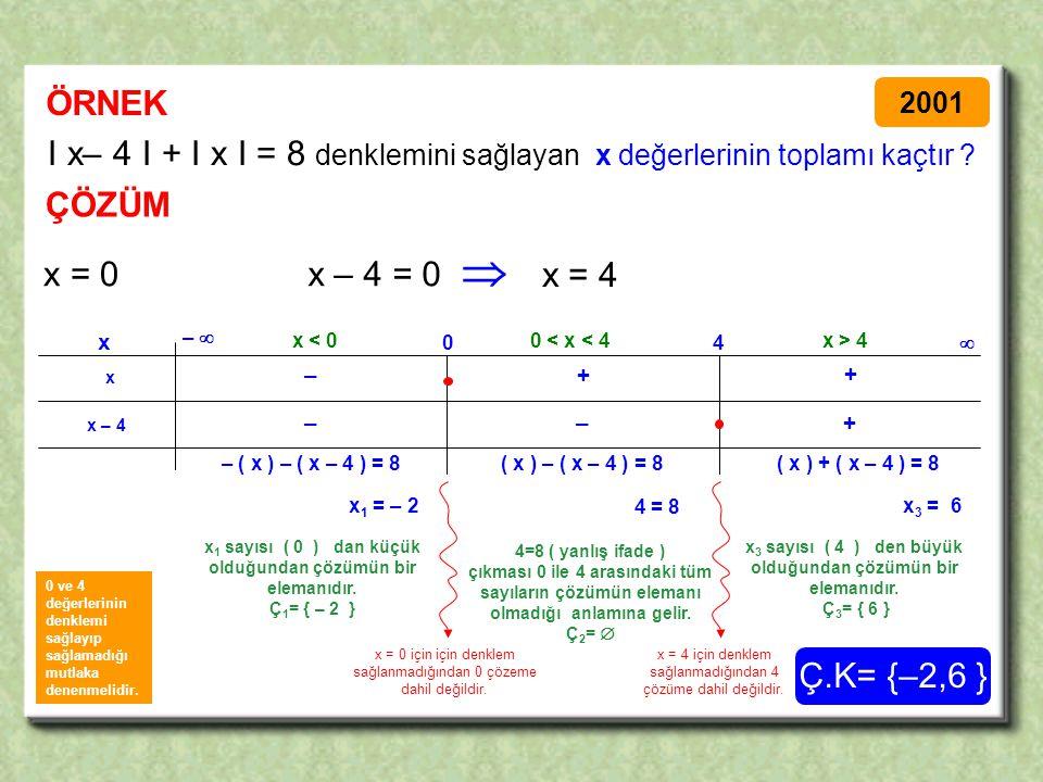 ÖRNEK 2001. I x– 4 I + I x I = 8 denklemini sağlayan x değerlerinin toplamı kaçtır ÇÖZÜM.  x = 0.
