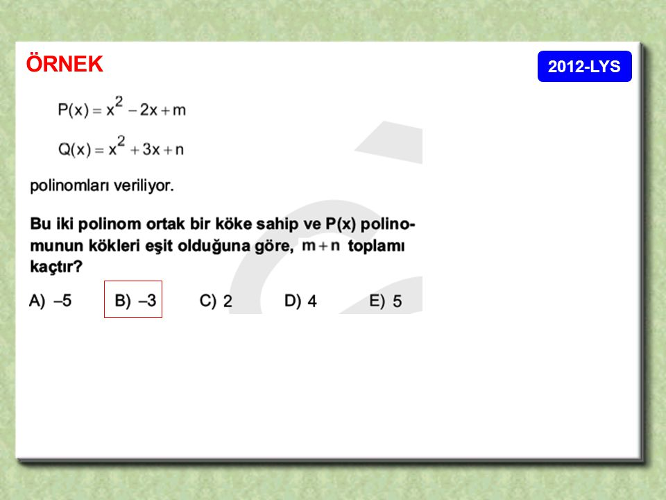 ÖRNEK 2012-LYS 31