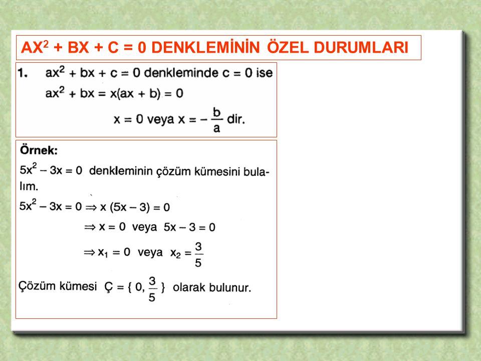 AX2 + BX + C = 0 DENKLEMİNİN ÖZEL DURUMLARI