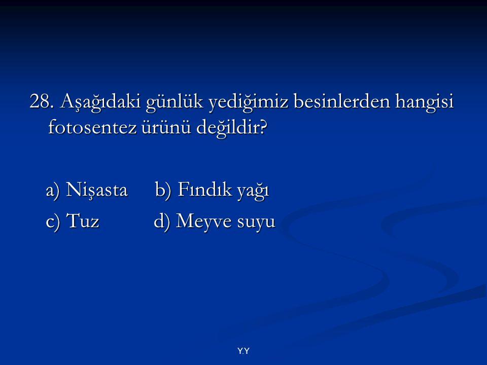 a) Nişasta b) Fındık yağı c) Tuz d) Meyve suyu