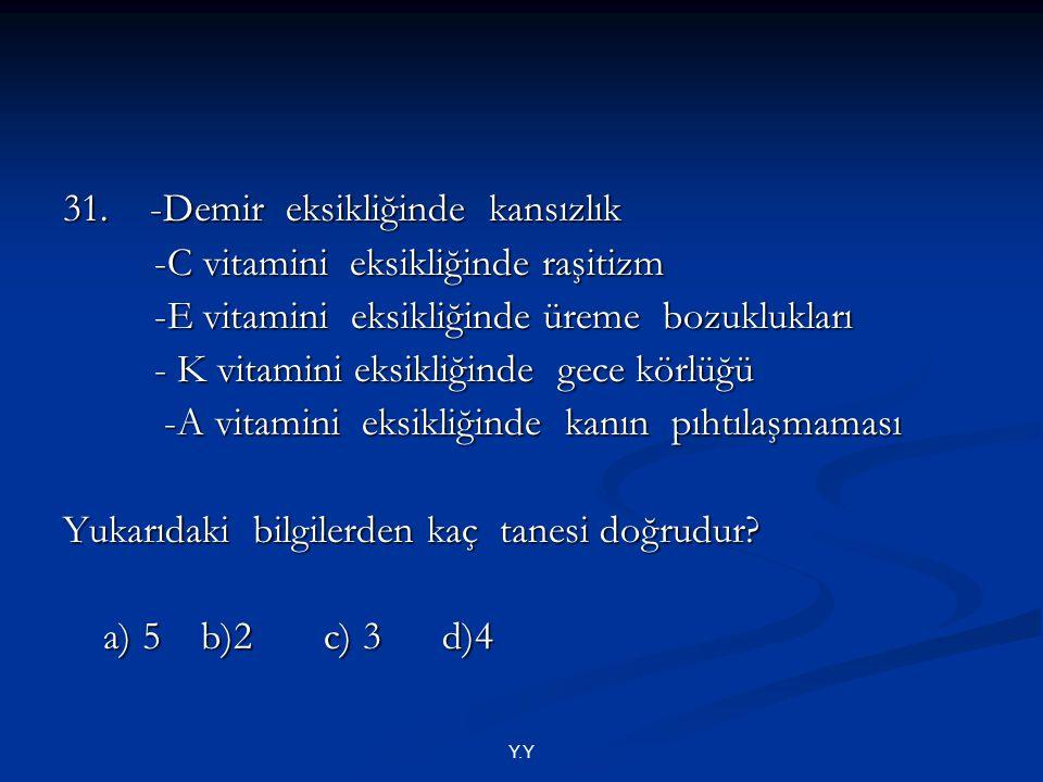 31. -Demir eksikliğinde kansızlık -C vitamini eksikliğinde raşitizm