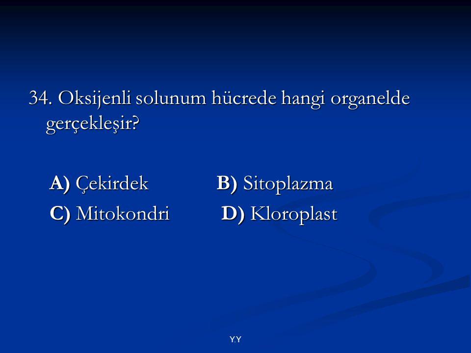34. Oksijenli solunum hücrede hangi organelde gerçekleşir