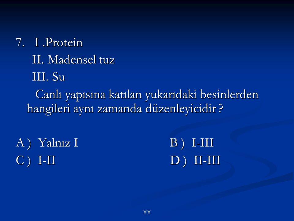 7. I .Protein II. Madensel tuz III. Su