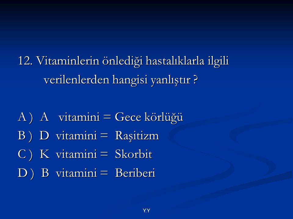 12. Vitaminlerin önlediği hastalıklarla ilgili