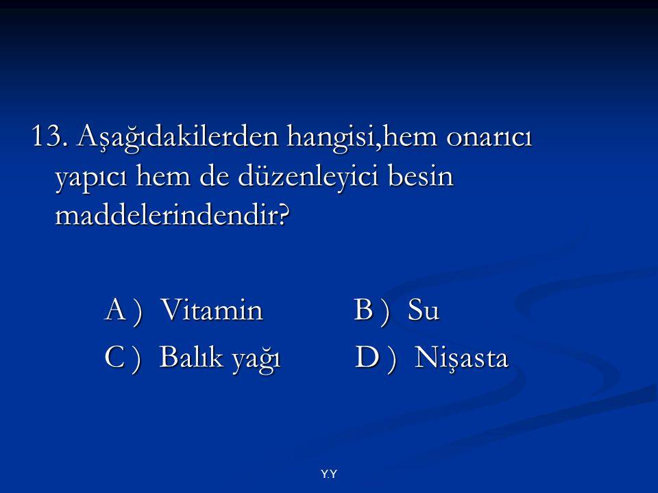 C ) Balık yağı D ) Nişasta