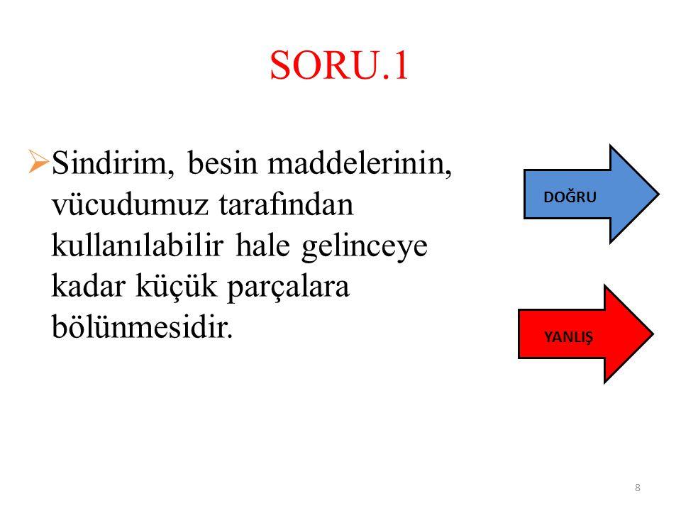 SORU.1 Sindirim, besin maddelerinin, vücudumuz tarafından kullanılabilir hale gelinceye kadar küçük parçalara bölünmesidir.