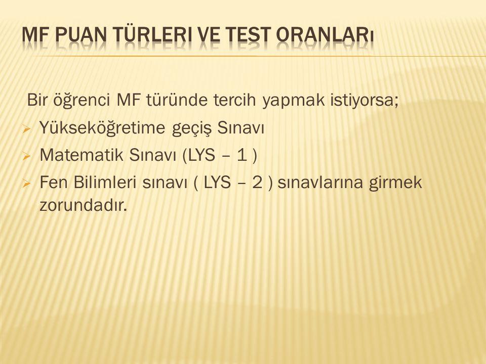 Mf puan türleri ve test oranları