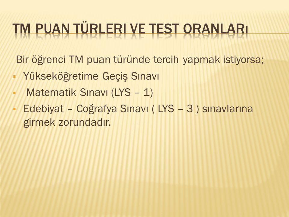 Tm puan türleri ve test oranları