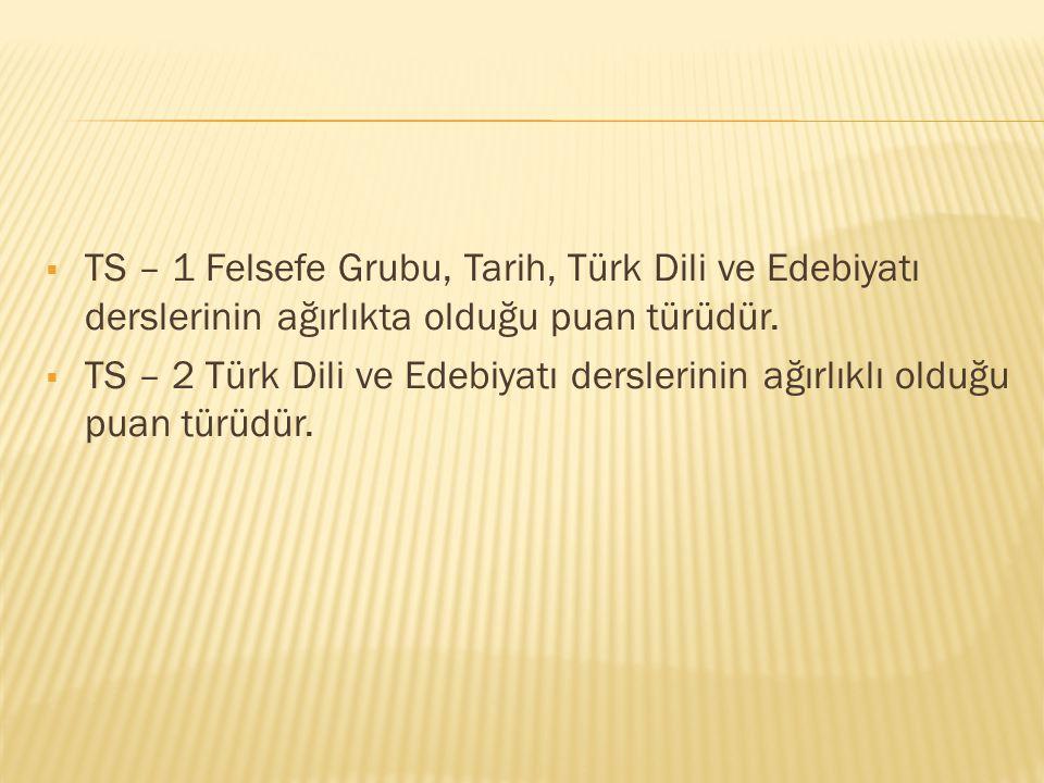 TS – 1 Felsefe Grubu, Tarih, Türk Dili ve Edebiyatı derslerinin ağırlıkta olduğu puan türüdür.
