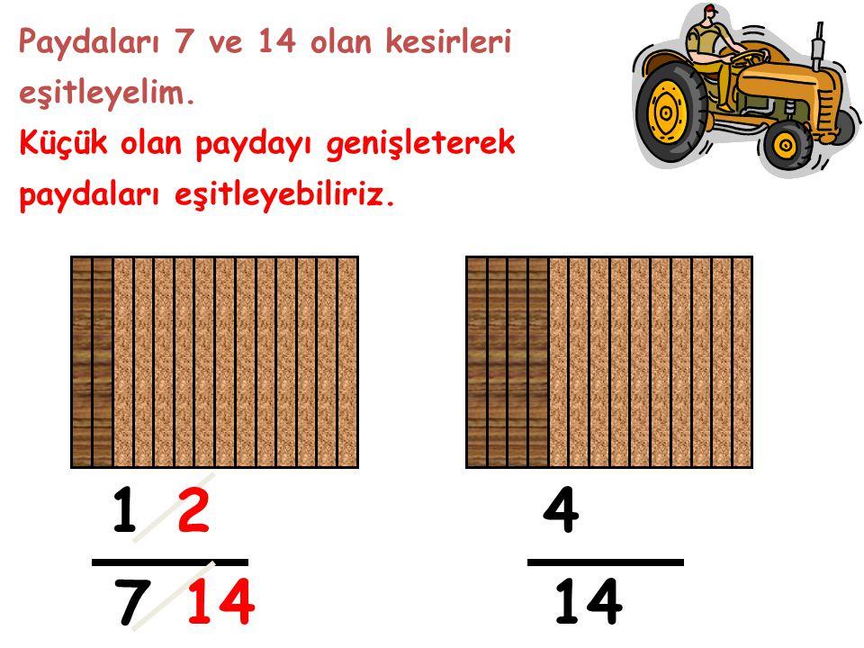1 2 4 7 14 14 Paydaları 7 ve 14 olan kesirleri eşitleyelim.