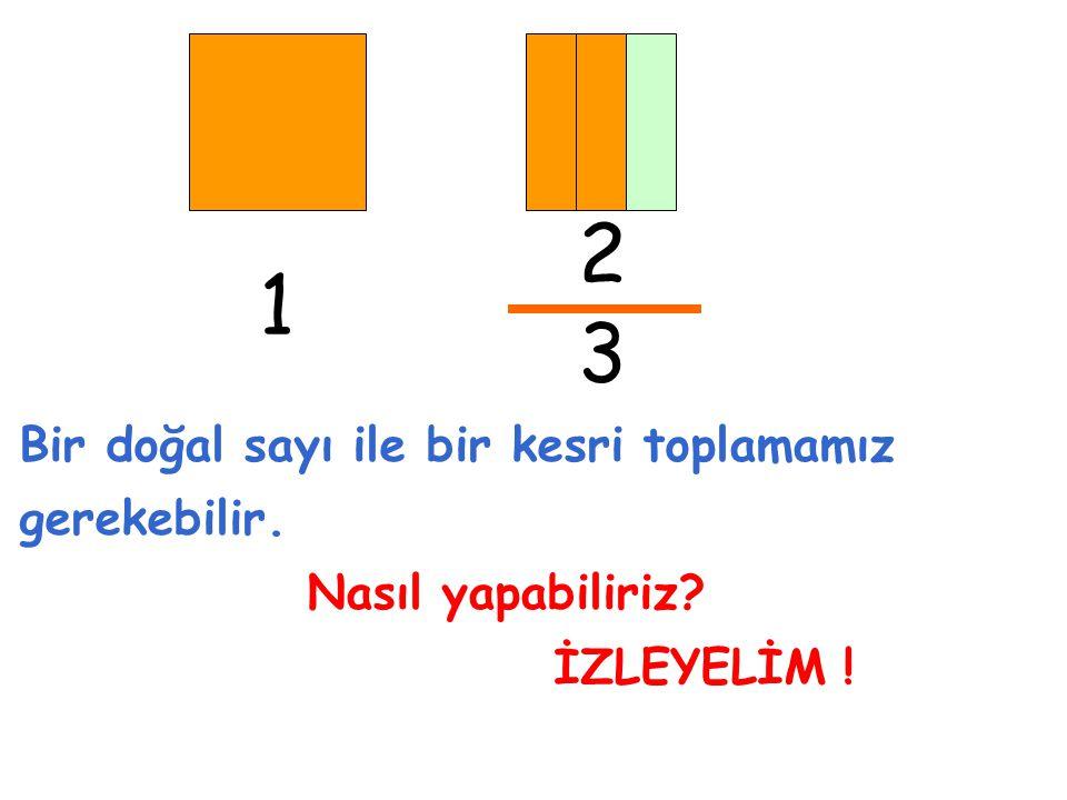 2 1 3 Bir doğal sayı ile bir kesri toplamamız gerekebilir.