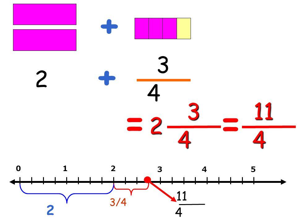 + 3 + 2 4 3 11 = = 2 4 4 1 2 3 4 5 11 3/4 2 4