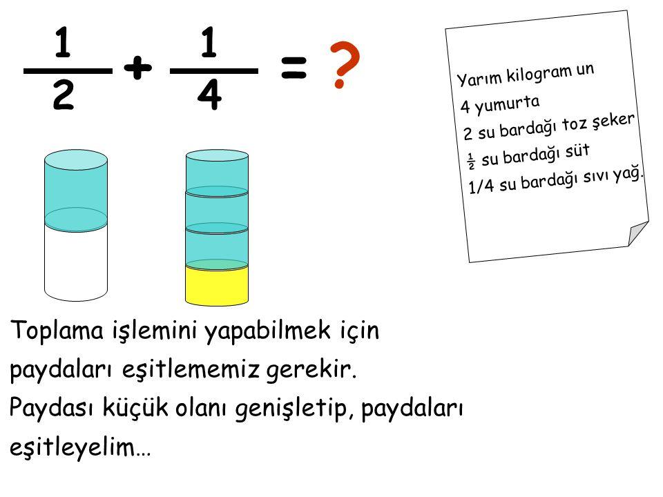 1 1. + = Yarım kilogram un. 4 yumurta. 2 su bardağı toz şeker. ½ su bardağı süt. 1/4 su bardağı sıvı yağ.