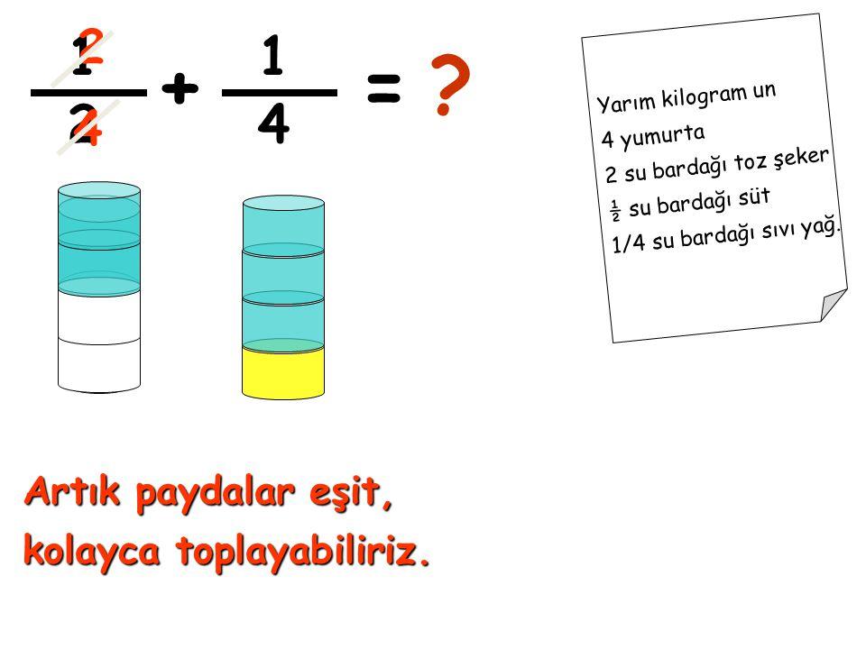 + = 1 1 2 4 2 4 Artık paydalar eşit, kolayca toplayabiliriz.