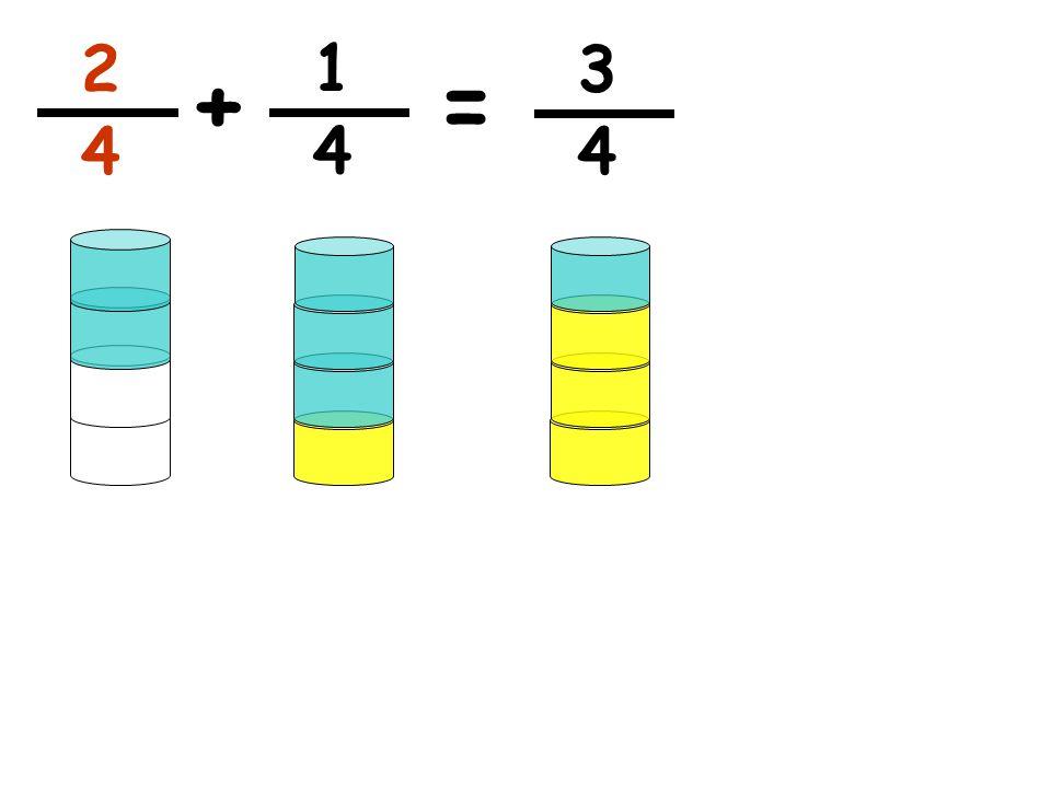 2 1 3 + = 4 4 4