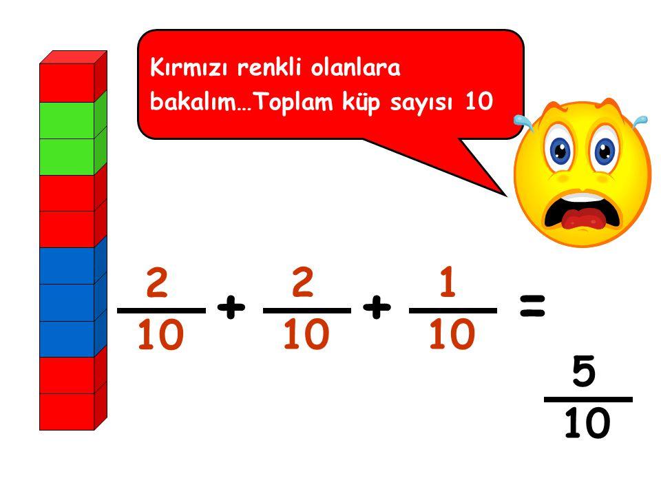 Kırmızı renkli olanlara bakalım…Toplam küp sayısı 10